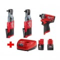 Milwaukee M12 FUEL 12-Volt Lithium-Ion Brushless Cordless Ratchet & Impact Combo Kit (3-Tool) with (2) 2.0Ah Battery & Charger