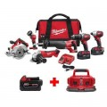 Milwaukee M18 18-Volt Lithium-Ion Cordless Combo Tool Kit (6-Tool) with Free M18 6-Port Charger and 5.0 Ah Battery