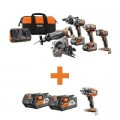 RIDGID 18-Volt Lithium-Ion Cordless 5-Tool Combo w/Bonus (2) 4.0Ah Battery Packs & OCTANE Brushless Impact Wrench