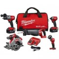 Milwaukee M18 FUEL 18-Volt Lithium-Ion Brushless Cordless Combo Kit (5-Tool) W/ (2) 5.0 Ah Batteries, (1) Charger, (1) Tool Bag