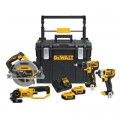 DEWALT 20-Volt MAX Lithium-Ion Cordless Hammerdrill/Impact Driver/Circular Saw/Grinder Combo Kit (4-Tool) w/ ToughSystem Case