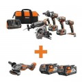 RIDGID 18-Volt Lithium-Ion Cordless 5-Tool Combo w/Bonus OCTANE Brushless Angle Grinder & (2) 4.0Ah Battery Packs