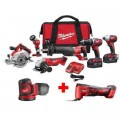 Milwaukee M18 18-Volt Lithium-Ion Cordless Combo Tool Kit (6-Tool) with M18 Free M18 Multi-Tool and Random Orbit Sander