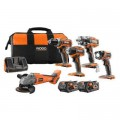 RIDGID 18-Volt Lithium-Ion Cordless Brushless 5-Tool Combo Kit with (2) 4 Ah Batteries, Charger, and Bag