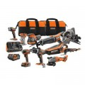 RIDGID 18-Volt Cordless 10-Piece Combo Kit with (1) 4.0 Ah Battery and (1) 2.0 Ah Battery, Charger, and Bag
