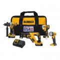 DEWALT 20-Volt MAX XR Lithium-Ion Cordless Combo Kit (4-Tool) with (2) Batteries 5Ah, Charger and Tool Bag