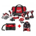 Milwaukee M18 18-Volt Lithium-Ion Cordless Combo Tool Kit (6-Tool) with Free M18 Wet/Dry Vacuum and Jobsite Fan
