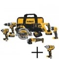 DEWALT 20-Volt MAX Lithium Ion Cordless Combo Kit (6-Tool) with Batteries, Charger, Tool Bag and Bonus Impact Wrench