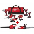 Milwaukee M18 18-Volt Lithium-Ion Cordless Combo Tool Kit (5-Tool) with M18 FUEL Chainsaw and Blower