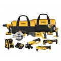DEWALT 20-Volt MAX Lithium-Ion Cordless Combo Kit (9-Tool) with (2) Batteries 2Ah, Charger and (2) Contractor Bags