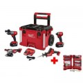 Milwaukee M18 FUEL 18-Volt Lithium-Ion Brushless Cordless Combo Kit (4-Tool) w/ Bit Set, Two 5.0 Ah Batteries and PACKOUT Tool Box