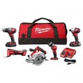 Milwaukee M18 18-Volt Lithium-Ion Cordless Combo Tool Kit (5-Tool) with Two 1.5 Ah Batteries, Charger, Tool Bag