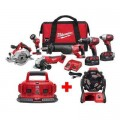 Milwaukee M18 18-Volt Lithium-Ion Cordless Combo Tool Kit (6-Tool) with Free M18 Jobsite Fan and 6-Port Charger