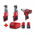 Milwaukee M12 12-Volt Lithium-Ion Brushless Cordless Ratchet and Impact Combo Kit (3-Tool) with (2) 2.0Ah Battery and Charger