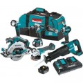 Makita 18-Volt 6-Piece 5.0Ah LXT Brushless Kit Hammer Driver Drill/ Impact Driver/ Recipro Saw/ Circ Saw /Grinder Flashlight