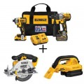 DEWALT 20-Volt MAX Cordless Brushless Combo Kit (2-Tool) w/ Bonus 1/2 Gal. Wet/Dry Vac & 6-1/2 in. Circ Saw (Tools-Only)