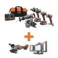 RIDGID 18-Volt Lithium-Ion Cordless 5-Tool Combo w/Bonus OCTANE Brushless Angle Grinder & Hybrid Folding Panel Light