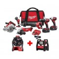 Milwaukee M18 18-Volt Lithium-Ion Cordless Combo Tool Kit (6-Tool) with Free M18 Jobsite Fan and ROVER Flood Light