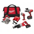 Milwaukee M28 28-Volt Lithium-Ion Cordless Combo Kit (4-Tool) with (2) 3.0Ah Batteries, (1) Charger, (1) Tool Bag