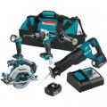 Makita 18-Volt LXT Lithium-Ion Brushless Cordless Combo Kit (4-Piece) Hammer Drill/Recip Saw/Circ Saw/Light w/(2)Batteries(5Ah)