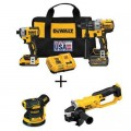 DEWALT 20-Volt MAX Cordless Brushless Combo Kit (2-Tool) w/ Bonus 5 in. Sander & 4-1/2 to 5 in. Grinder (Tools-Only)