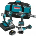 Makita 18-Volt 4-Piece 5.0Ah LXT Lithium-Ion Brushless Cordless Combo Kit Hammer Drill/Impact Driver/Angle Grinder/Flashlight