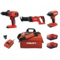 Hilti 22-Volt Lithium-Ion Keyless Chuck Cordless Hammer Drill Driver/Impact Driver/Reciprocating Saw Combo Kit (3-Tool)