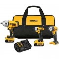 DEWALT 20-Volt MAX Lithium-Ion Cordless Impact Wrench, Driver & Light Combo Kit (3-Tool) w/ (2) Batteries 4Ah, Charger & Bag