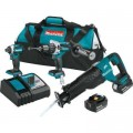 Makita 18-Volt LXT 5.0Ah Lithium-Ion Brushless Cordless Combo Kit (Hammer Drill/Impact Driver/Recipro Saw)