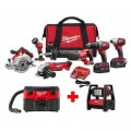 Milwaukee M18 18-Volt Lithium-Ion Cordless Combo Tool Kit (6-Tool) with Free M18 Wet/Dry Vacuum and ROVER Flood Light