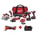 Milwaukee M18 18-Volt Lithium-Ion Cordless Combo Tool Kit (6-Tool) with Free M18 Multi-Tool and 5.0 Ah Battery