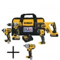 DEWALT 20-Volt MAX XR Lithium-Ion Cordless Combo Kit (4-Tool) with Batteries, Charger, Tool Bag and Free 1/2 in. Impact Wrench